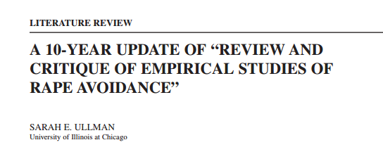 "A 10-YEAR UPDATE OF ""REVIEW AND CRITIQUE OF EMPIRICAL STUDIES OF RAPE AVOIDANCE"""
