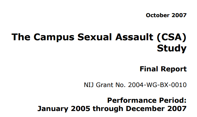 The Campus Sexual Assault (CSA) Study