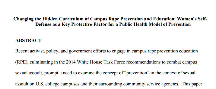 Changing the Hidden Curriculum of Campus Rape Prevention and Education: Women's SelfDefense as a Key