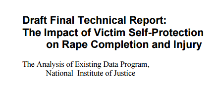 Draft Final Technical Report: The Impact of Victim Self-Protection on Rape Completion and Injury