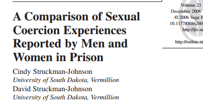A Comparison of Sexual Coercion Experiences Reported by Men and Women in Prison