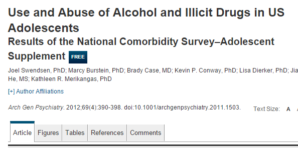 Use and Abuse of Alcohol and Illicit Drugs in US Adolescents