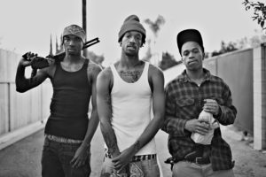 portrait of three black gang members