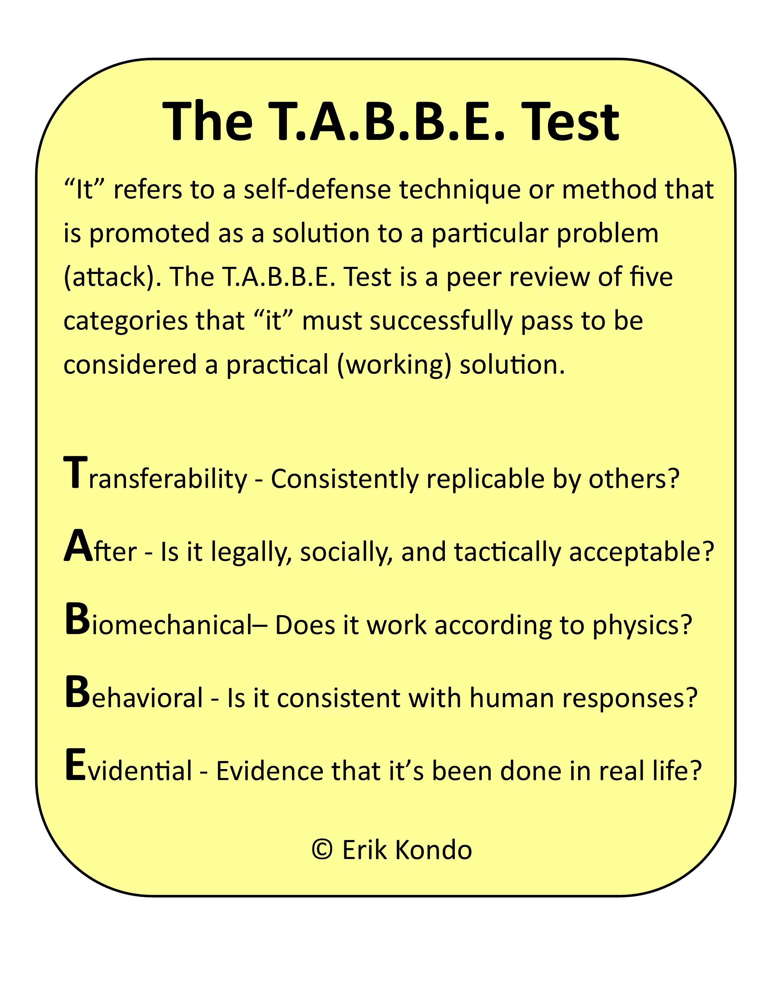 The T A B B E  Test – Erik Kondo | CRGI